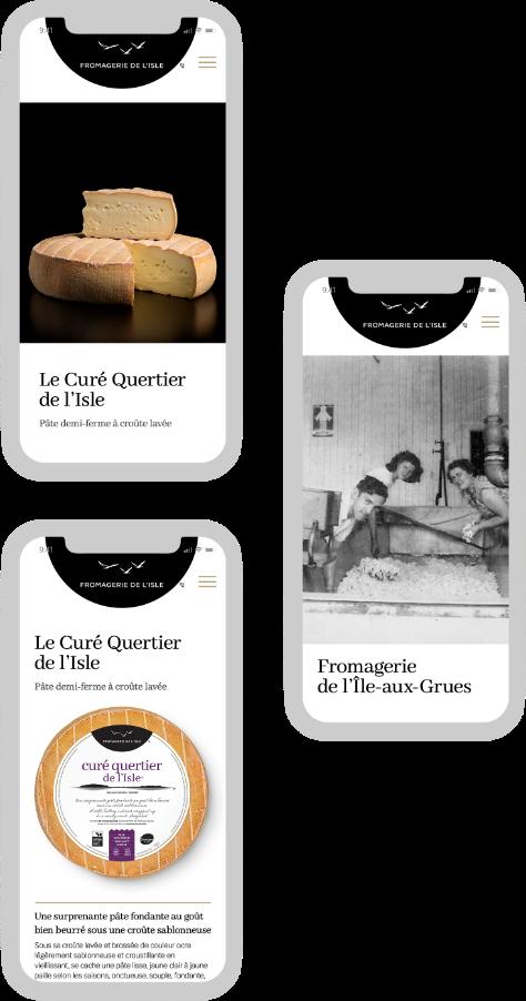Mockup du site web de la fromagerie de l'Île version mobile