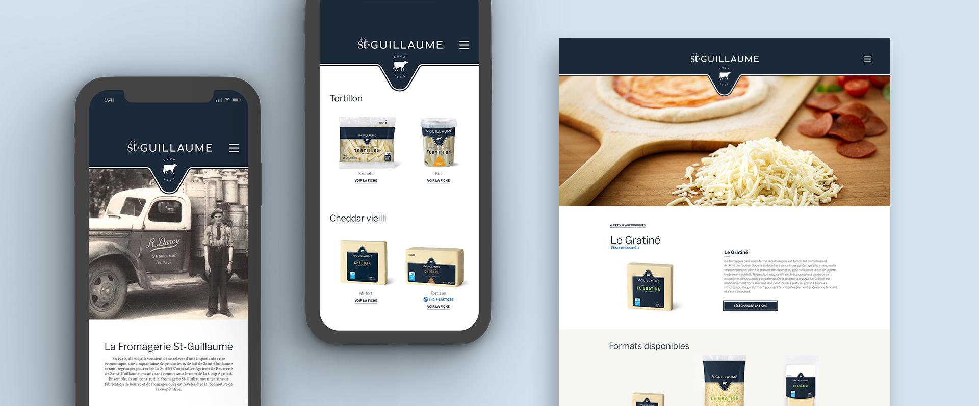 Mockup site interne de la fromagerie St-Guillaume