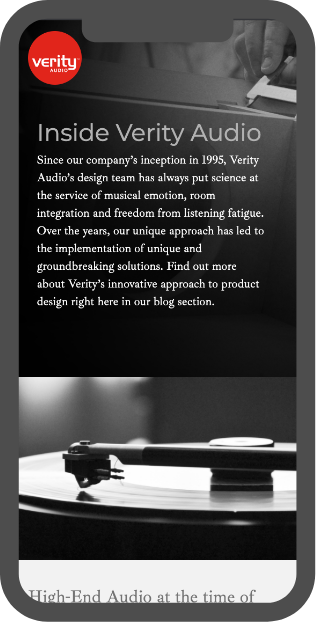 Aperçus mobile site web Verity Audio