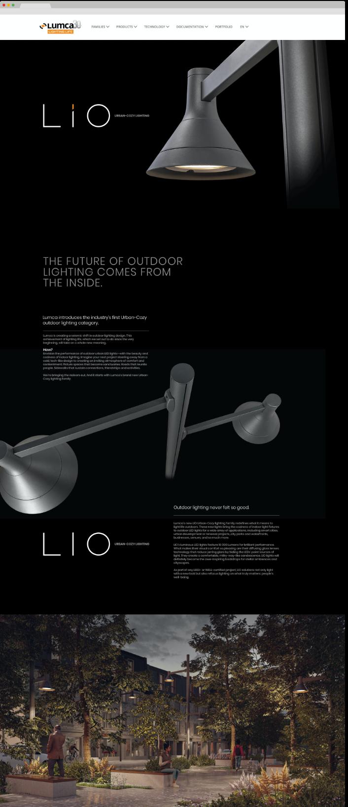 Apperçus site web Lumca page Lio